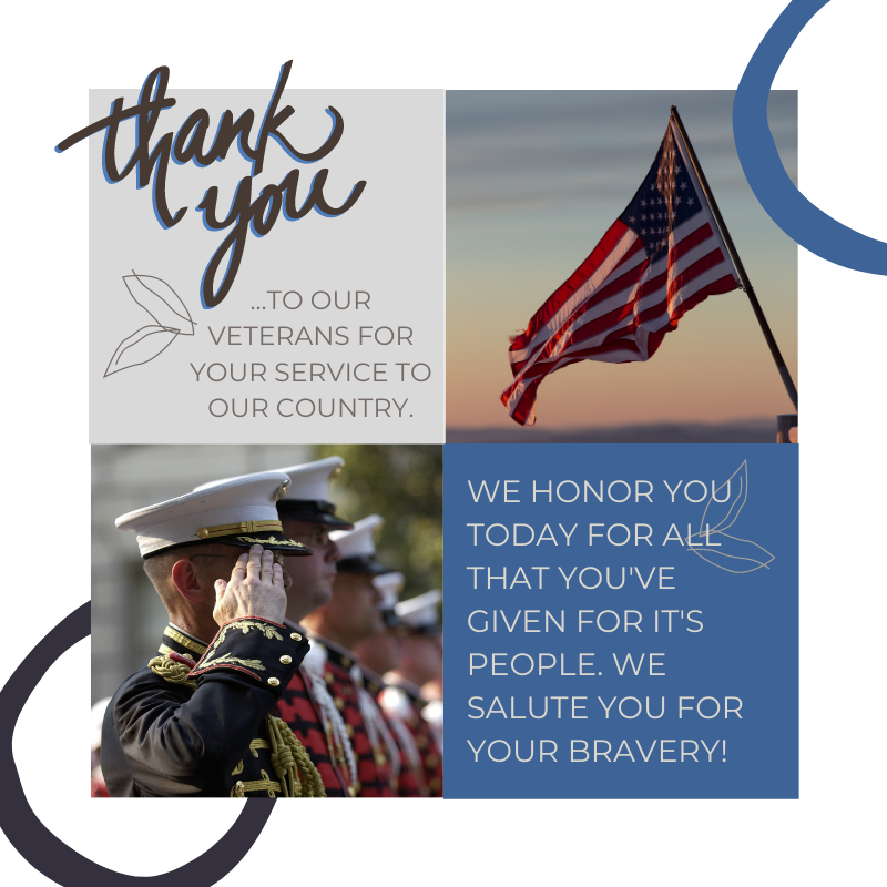 Graphic thanking veterans for their service